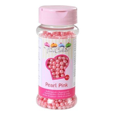 Funcakes suikerparels 4 mm parelmoer roze 80g
