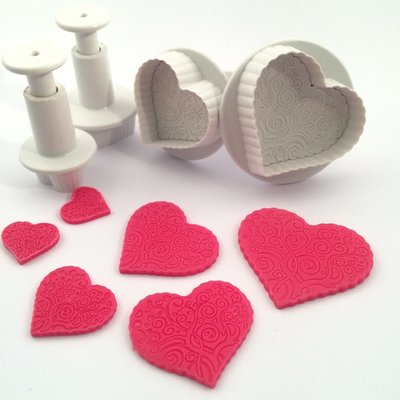 Dekofee Plungers Patterned Hearts/Hartjes met patroon set/4