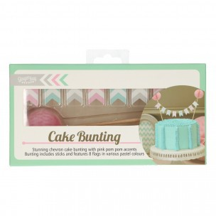 Ginger Ray Cake Bunting Topper Pink Pom Poms -Chevron Divine
